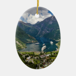 Norway view to Geiranger from Flydalsjuvet Ceramic Ornament