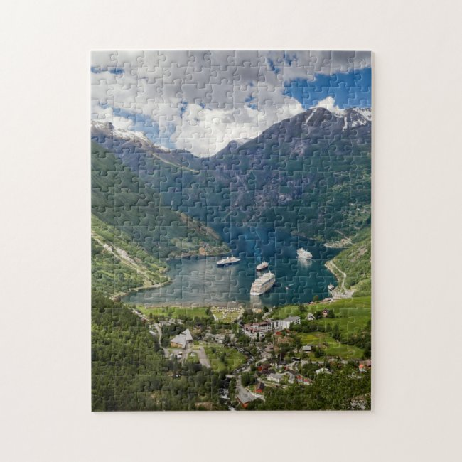 Norway view to Geiranger from Flydalsjuvet Jigsaw Puzzle