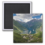 Norway view to Geiranger from Flydalsjuvet 2 Inch Square Magnet