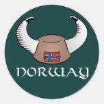 Norway Viking Hat Classic Round Sticker