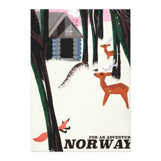 Norway vintage travel poster landscape canvas print