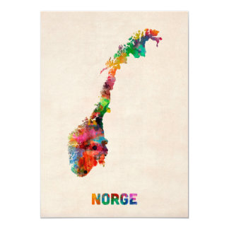 Norway Watercolor Map 5x7 Paper Invitation Card