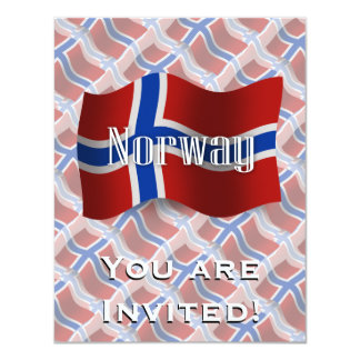 Norway Waving Flag 4.25x5.5 Paper Invitation Card