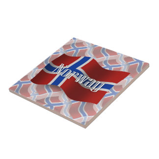 Norway Waving Flag Ceramic Tile