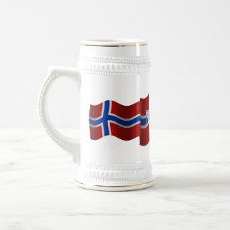 Norway Waving Flag 18 Oz Beer Stein