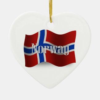 Norway Waving Flag Christmas Ornament