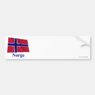 Norway Waving Flag with Name in Norwegian Bumper Stickers
