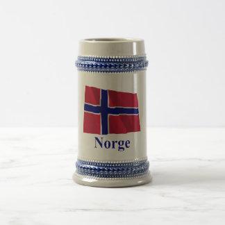 Norway Waving Flag with Name in Norwegian 18 Oz Beer Stein