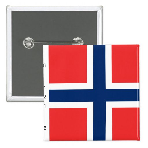 Norway With Proportions, Norway flag Pinback Button