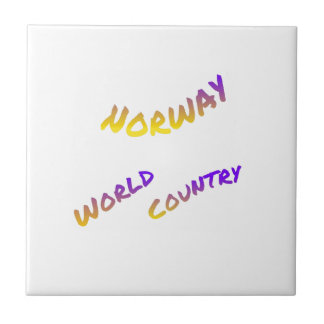 Norway world country, colorful text art ceramic tile