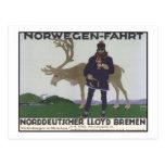 Norwegen Fahrt Norddeutscher LLoyd Bremen Post Card