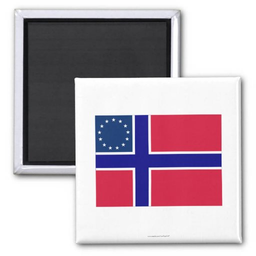 Norwegian-American Flag 2 Inch Square Magnet