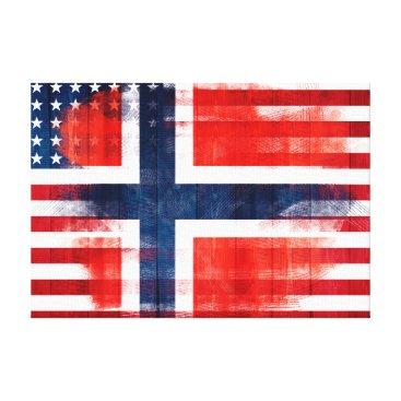 USA Themed Norwegian American Flag | Wood & Paint Strokes Canvas Print