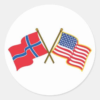 Norwegian American Flags Classic Round Sticker