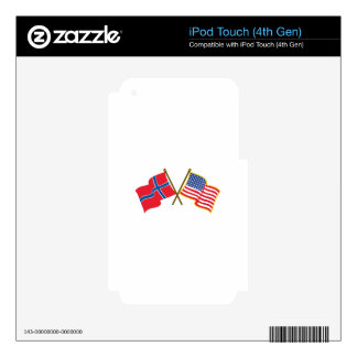Norwegian American Flags iPod Touch 4G Decal
