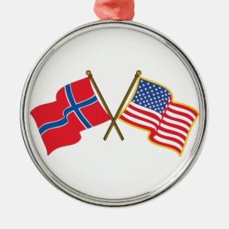 Norwegian American Flags Metal Ornament