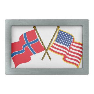 Norwegian American Flags Rectangular Belt Buckle