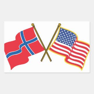 Norwegian American Flags Rectangular Sticker