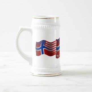 Norwegian-American Waving Flag Beer Stein
