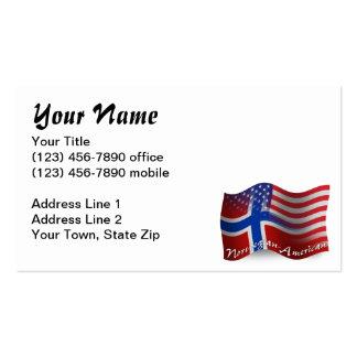 Norwegian-American Waving Flag Business Card