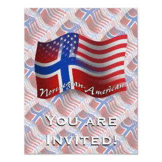 Norwegian-American Waving Flag Card