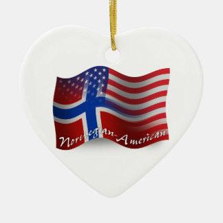 Norwegian-American Waving Flag Ceramic Ornament