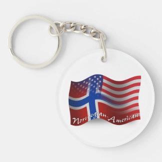 Norwegian-American Waving Flag Keychain