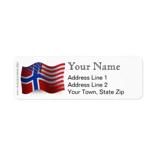 Norwegian-American Waving Flag Return Address Label