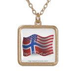 Norwegian-American Waving Flag Square Pendant Necklace