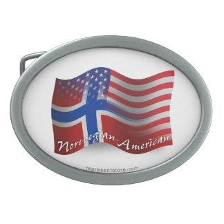 Norwegian-American Waving Flag Oval Belt Buckle