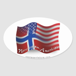 Norwegian-American Waving Flag Oval Sticker