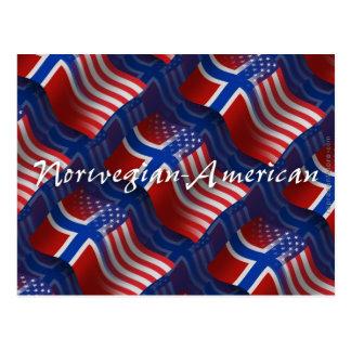 Norwegian-American Waving Flag Postcard