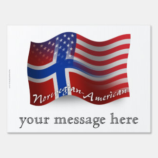 Norwegian-American Waving Flag Lawn Signs