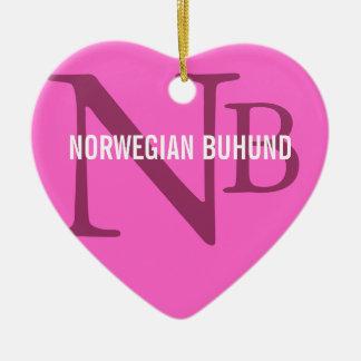 Norwegian Buhund Breed Monogram Ceramic Ornament