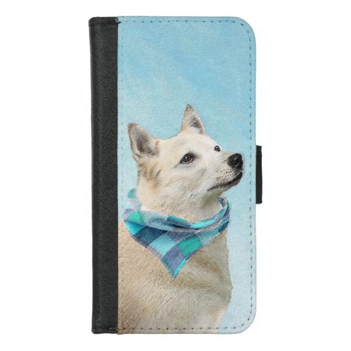 Norwegian Buhund Painting - Cute Original Dog Art iPhone 8/7 Wallet Case