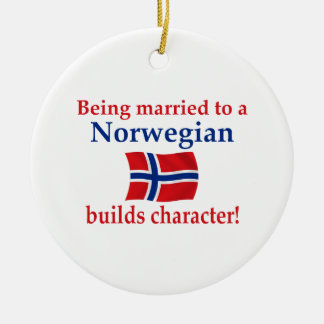 Norwegian Builds Character Double-Sided Ceramic Round Christmas Ornament
