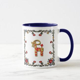 Norwegian Bunad Floral and Julbock Christmas Goat Mug