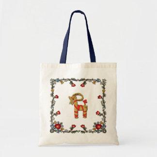 Norwegian Bunad Floral and Julbock Christmas Goat Tote Bag