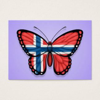 Norwegian Butterfly Flag on Purple Business Card
