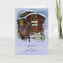 Norwegian Christmas Card - Horse And Old Caravan -