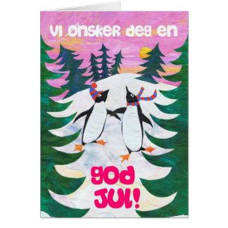 Norwegian Christmas Card - Skating Penguins