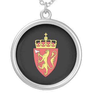 Norwegian coat of arms round pendant necklace