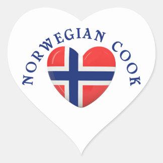 Norwegian Cook Heart Shaped Flag Heart Sticker