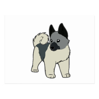 norwegian elkhound cartoon postcard
