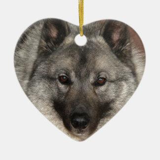 Norwegian Elkhound Ceramic Ornament