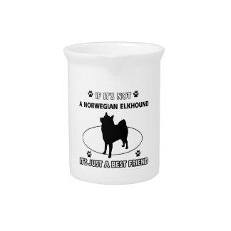 Norwegian Elkhound dog breed designs Drink Pitcher