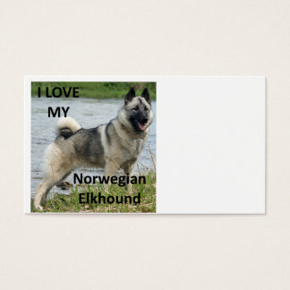 norwegian elkhound love with picture business card