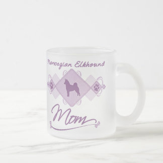 Norwegian Elkhound Mom Frosted Glass Coffee Mug