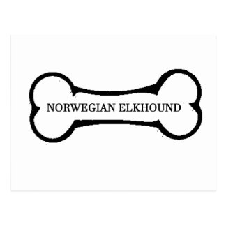norwegian elkhound name bone postcard