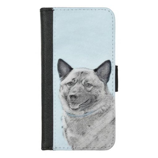 Norwegian Elkhound Painting - Original Dog Art iPhone 8/7 Wallet Case